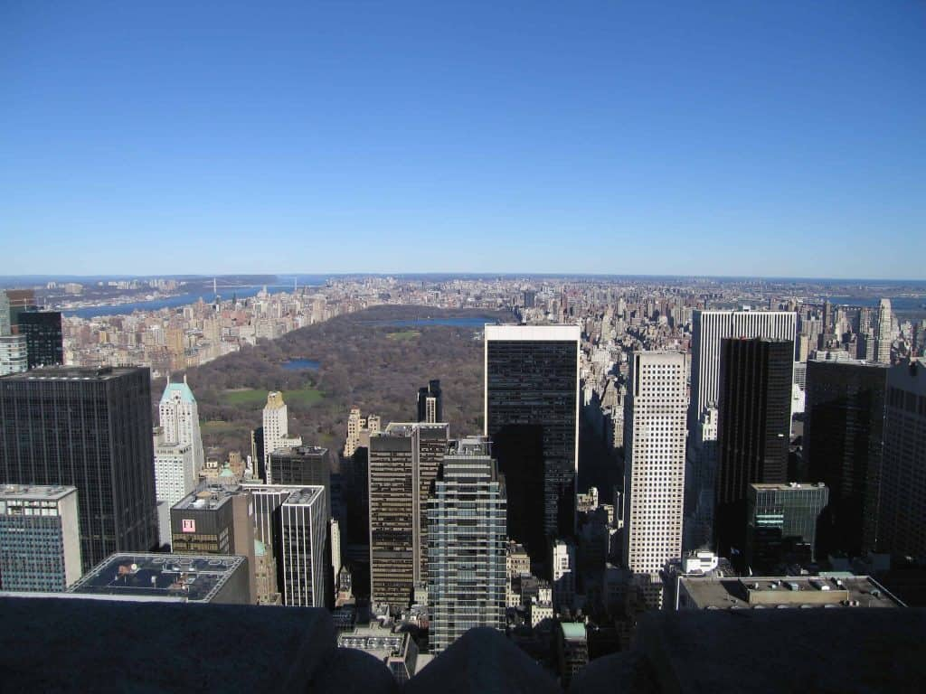 view of skyline and central park from top of the rockefeller building