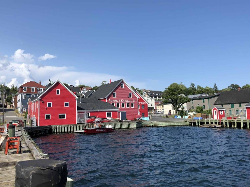nova scotia lighthouse route-lunenburg-red wooden buildings on waterfront