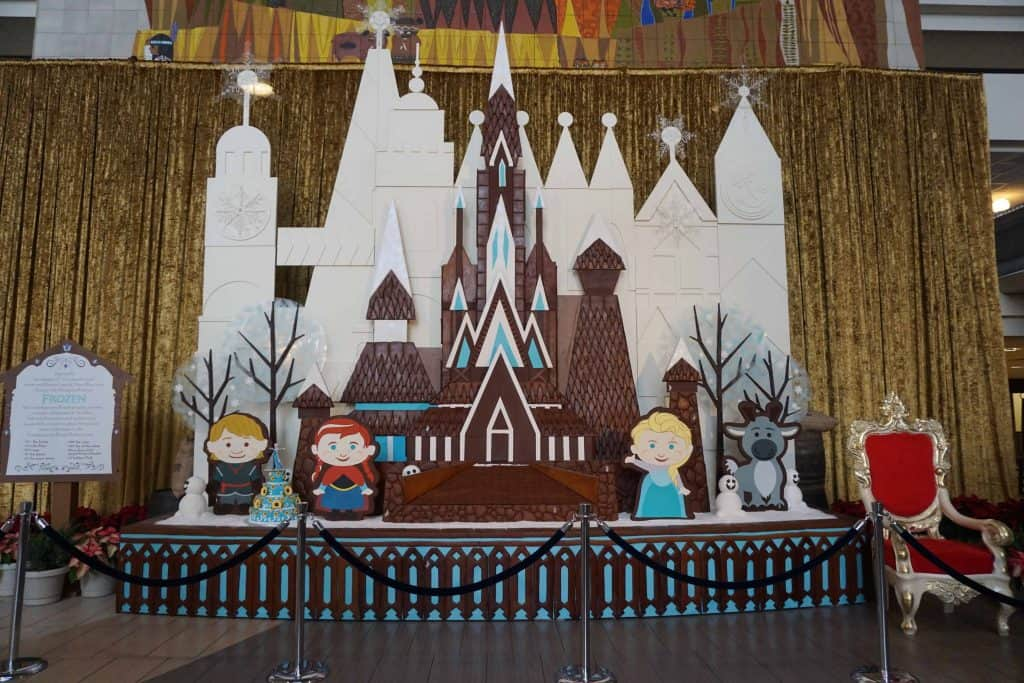 gingerbread display with characters from Frozen movie
