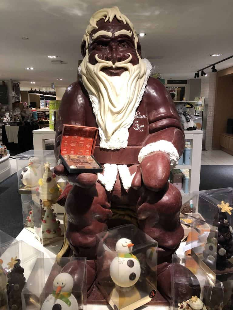 life size chocolate santa claus