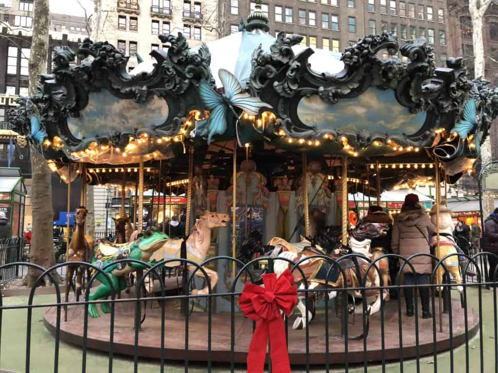 old-fashioned carousel at christmas-bryant park-new york city