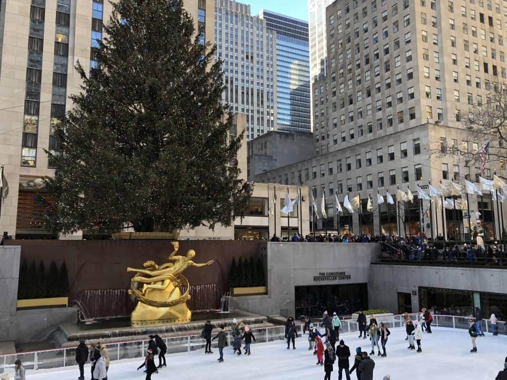skaters at rockefeller plaza-new york at christmas
