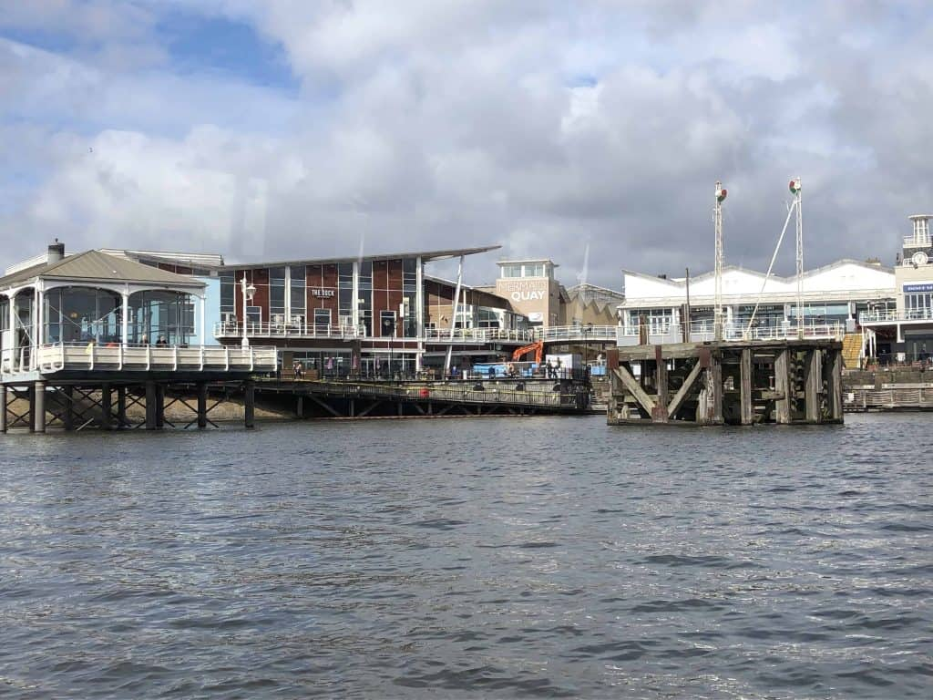 pier and buildings on waterfront cardiff