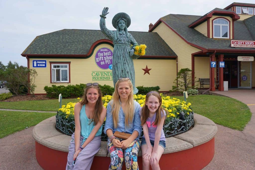girls with spirit of anne statue-prince edward island