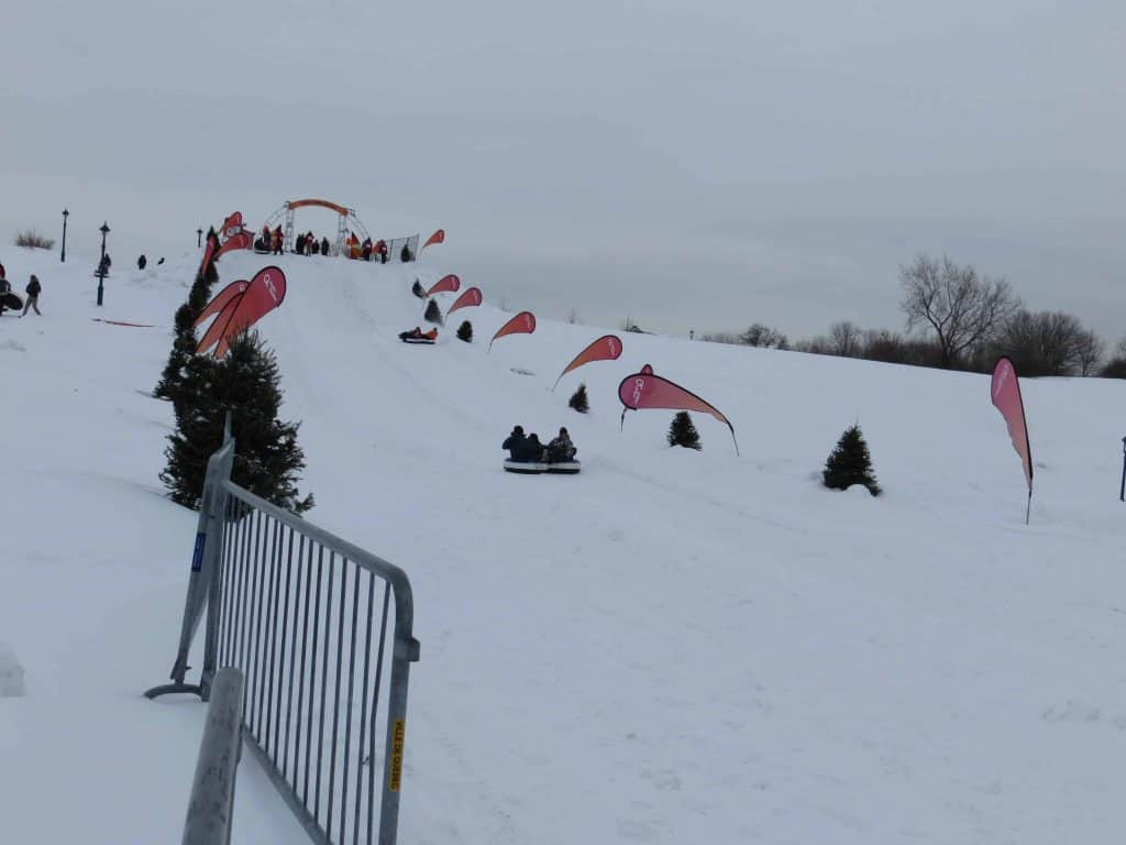 snow tubing on hill-quebec city