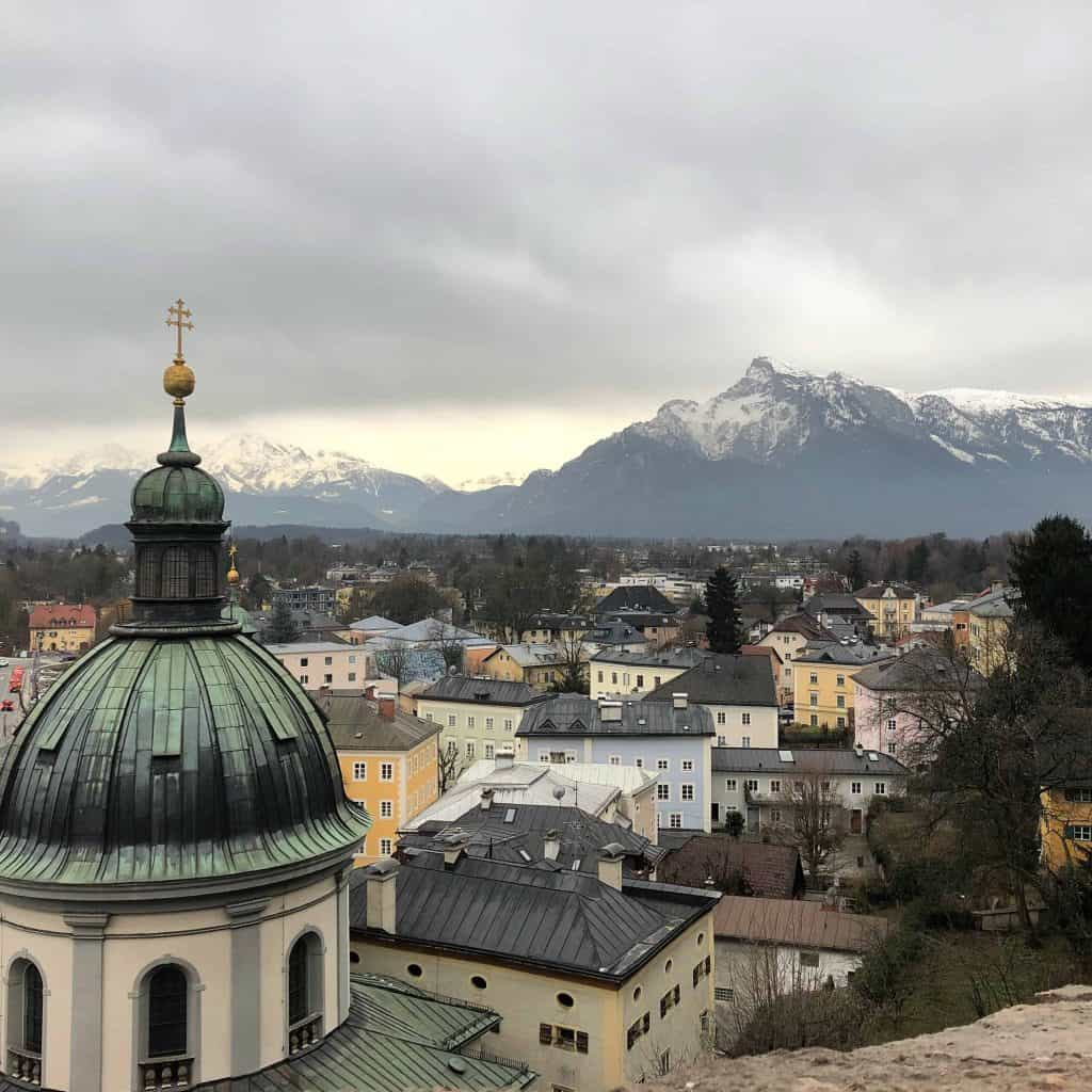 salzburg austria-view from hill of church buildings mountains