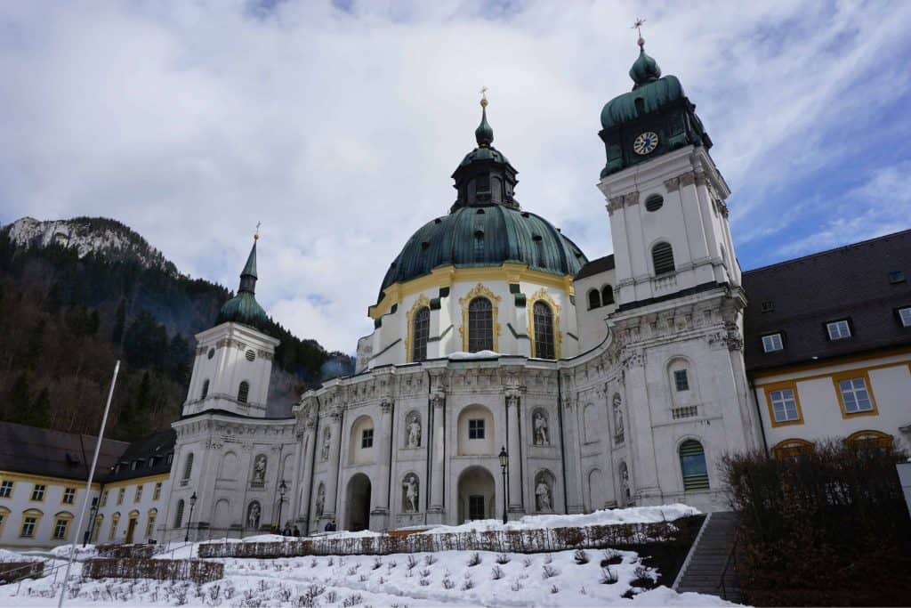 ettal monastery-snow covered garden