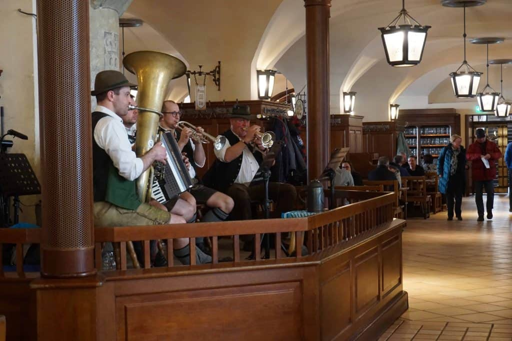 musicians playing at hofbrauhaus, munich, germany