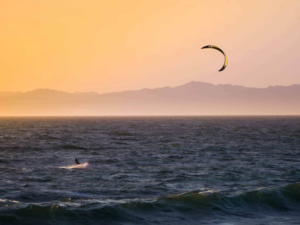 kite surfing-golden hour-hermosa beach