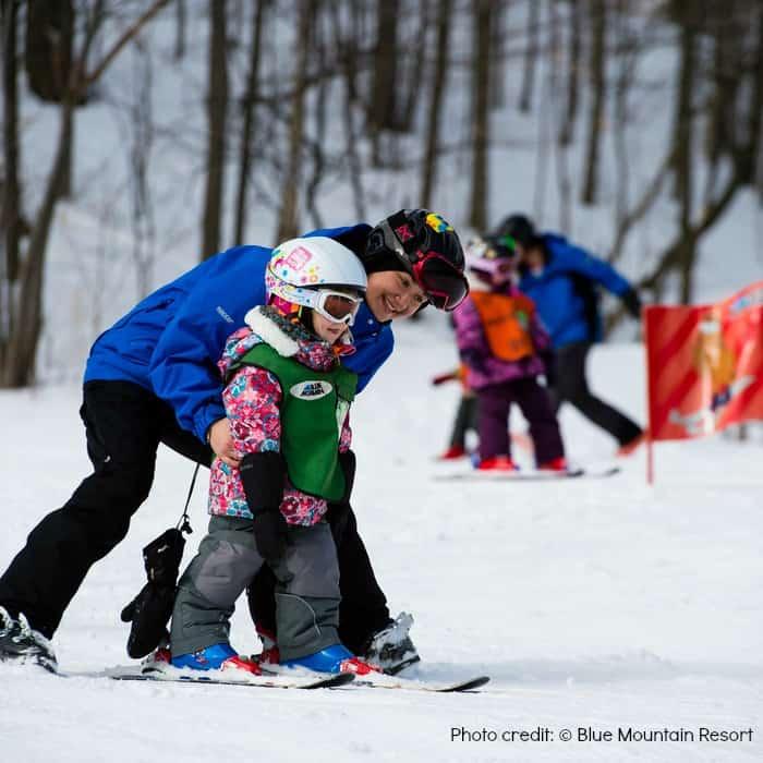 children ski lessons-blue mountain resort