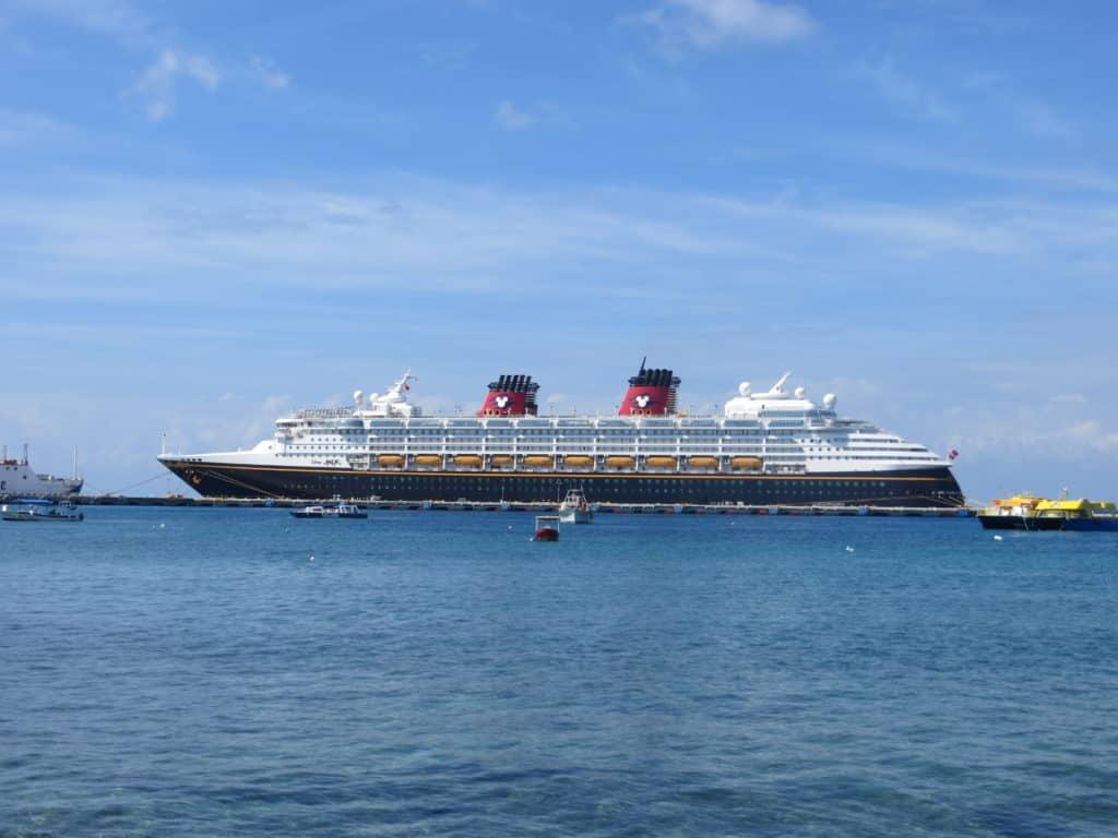 Disney Magic cruise ship in port of Cozumel.