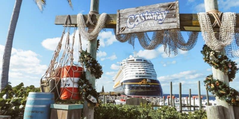 Disney cruise ship docked at Castaway Cay.